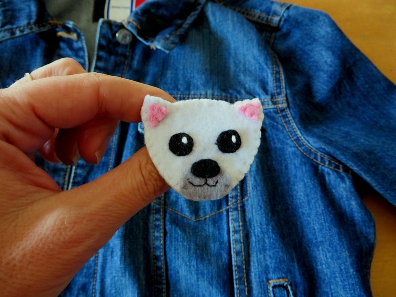 Polar bear brooch kawaii in felt handmade bear lover gift image 0