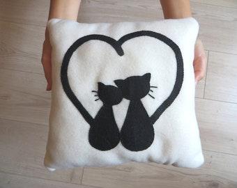 Black cats throw pillow, in fleece, and felt, handmade, love gift