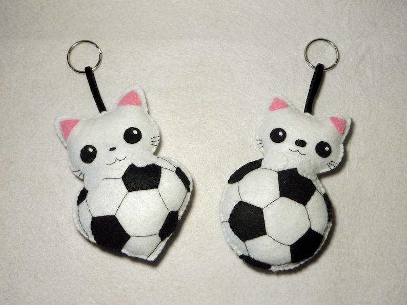 Soccer gift cat plush in a soccer ball in felt handmade image 0