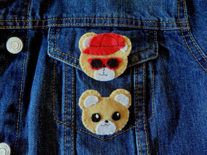 Bear brooch kawaii in felt handmade bear lover gift image 0