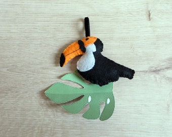 Toucan, felt bird, handmade, tropical decoration to hang