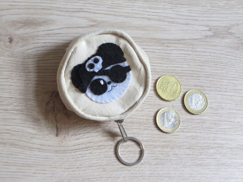Panda coin purse zipper kawaii in cotton and felt handmade image 0
