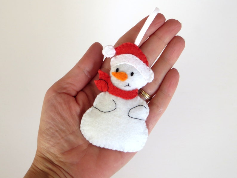 Christmas ornament felt snowman handmade to hand in your image 0