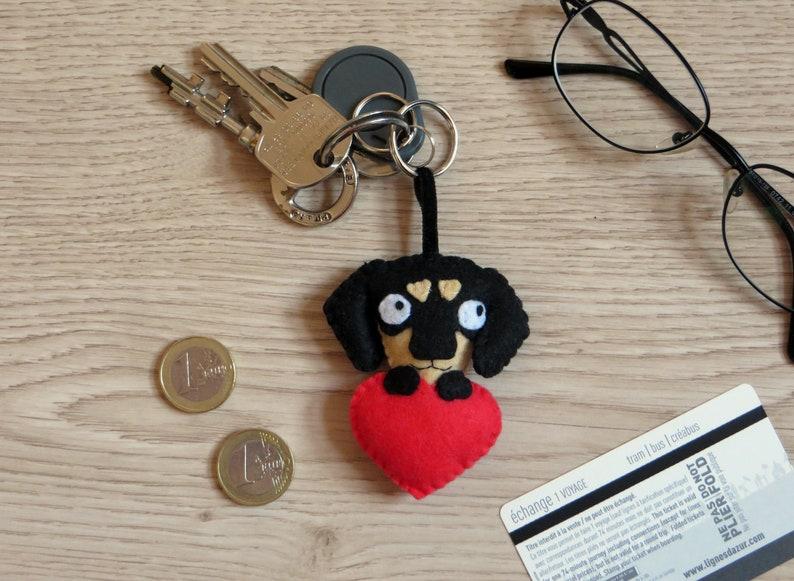 Dachshund keychain dog gift for owner cute in felt image 0