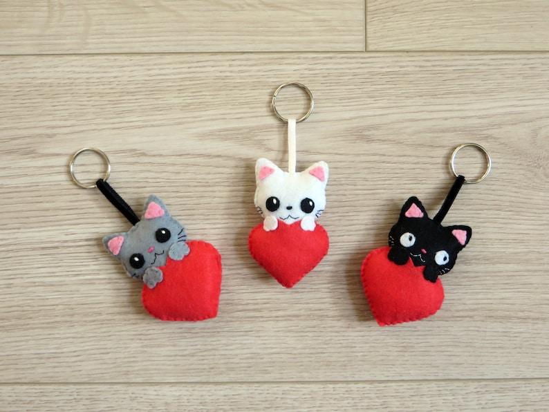 Cat charms felt keychain kawaii plush in a heart handmade image 0