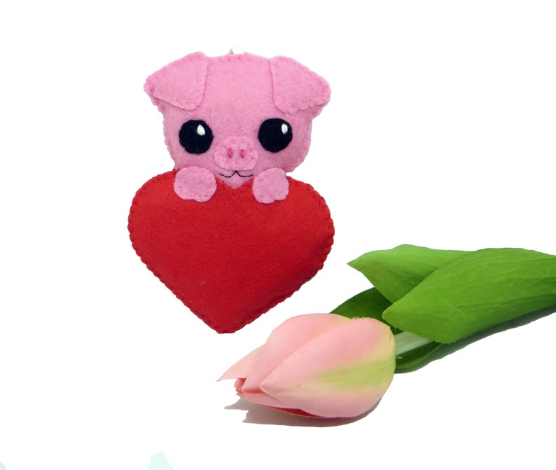 Pig plush gift for her cute in a heart in felt handmade image 0