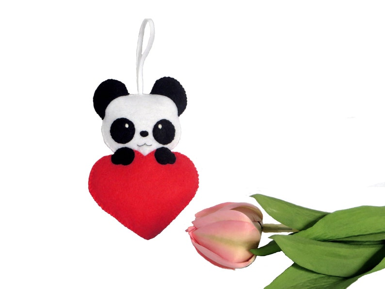 Panda plush in a heart in felt to hang handmade animal image 0