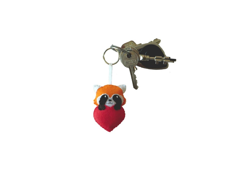 Red panda keychain gift for her cute in a red heart in image 0