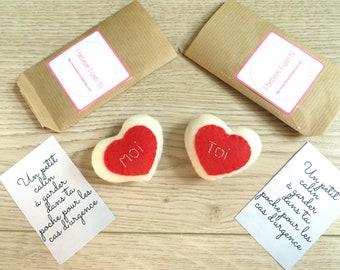Pocket hugs, two small stuffed hearts, with you and me embroidery, kawaii, couple gift