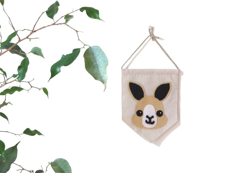 Kangaroo pennant for baby room wall decor in felt handmade image 0