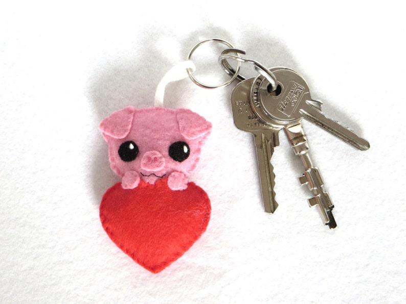 Pig keychain kawaii in a heart in felt handmade Valentine image 0
