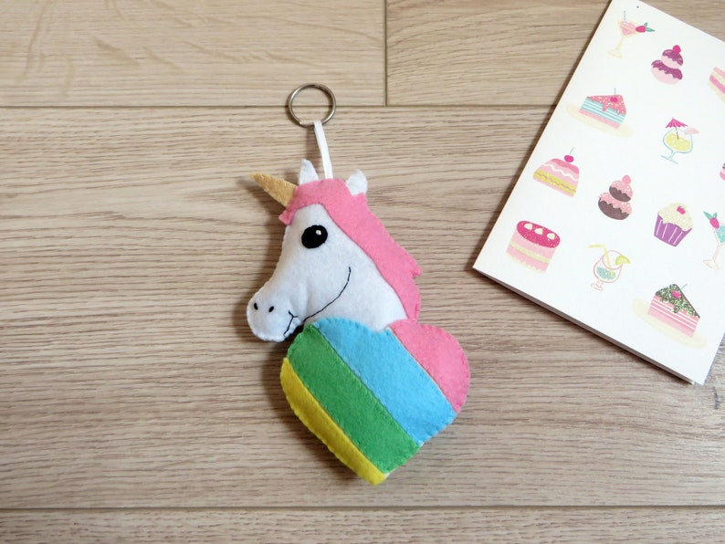 Unicorn plush gift for her kawaii in a rainbow heart in image 0