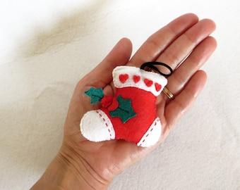 Christmas stocking decoration for christmas tree, in felt, handmade