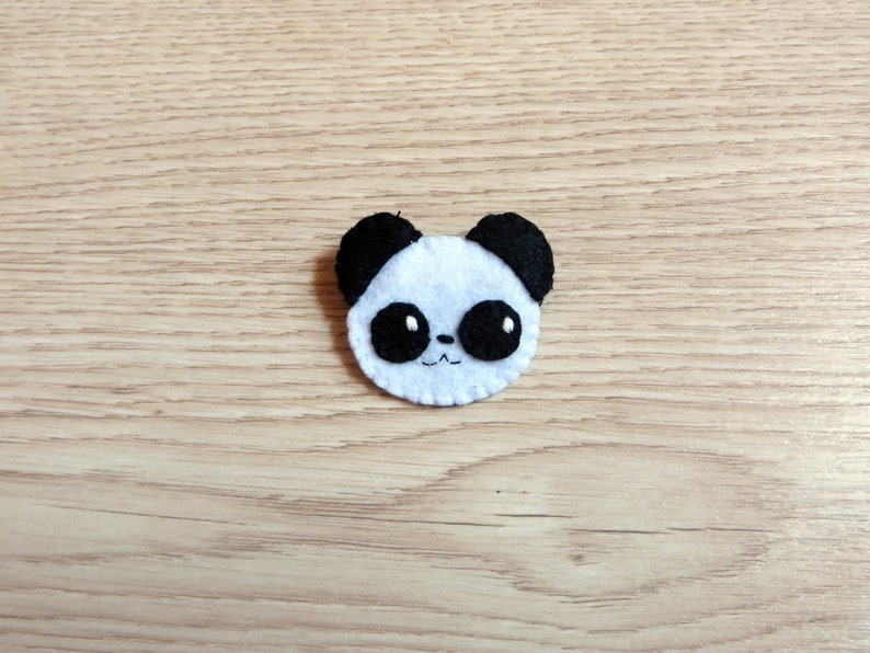 Felt brooch kawaii panda kids gift cute animal handmade image 0