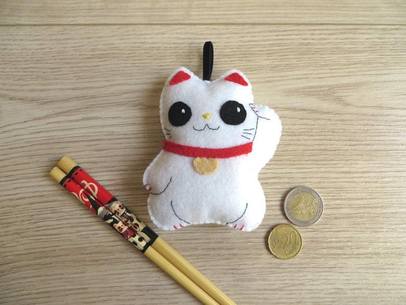 Japanese lucky charm maneki neko cat hand sewn felt image 0