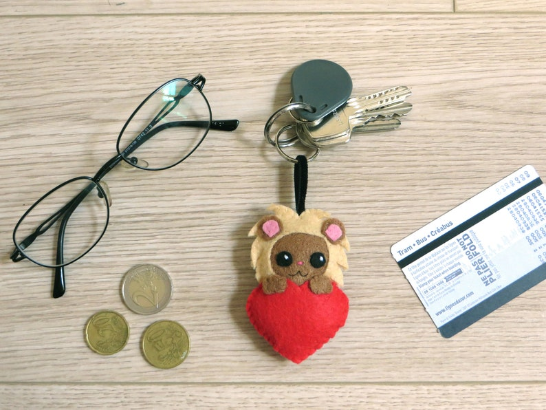 Lion keychain kawaii plush handmade birthday gift for her image 0
