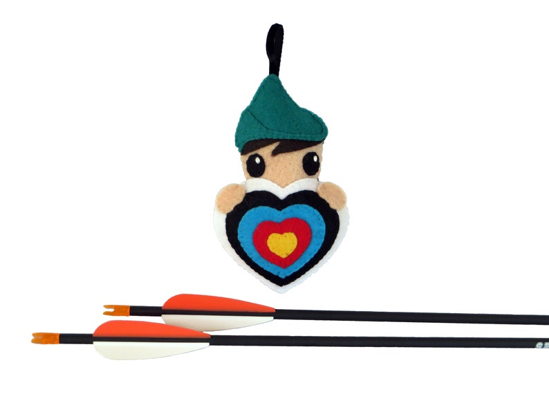 Robin hood ornament to hang on archery quiver in felt image 0