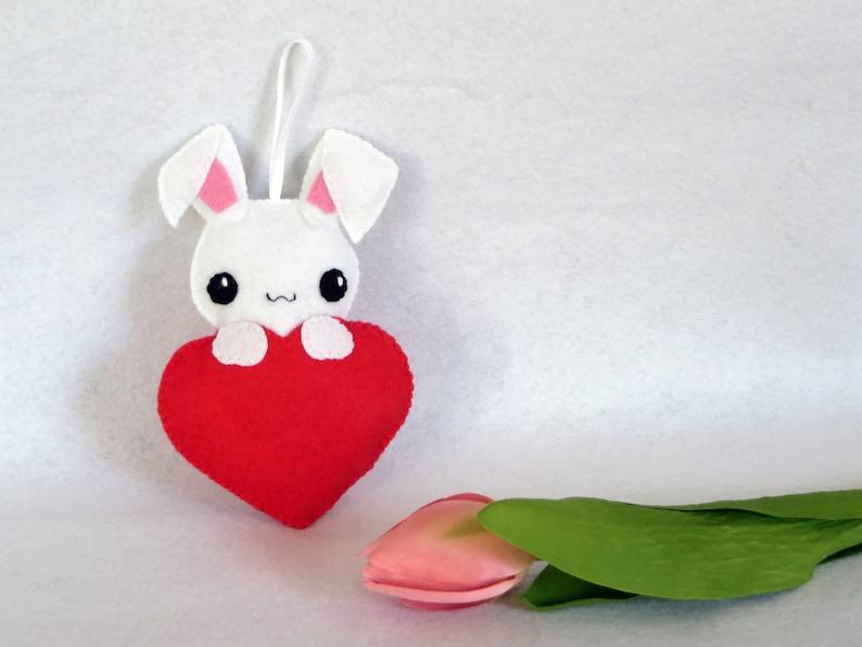 Rabbit plush kawaii in a heart in felt handmade rabbit image 0