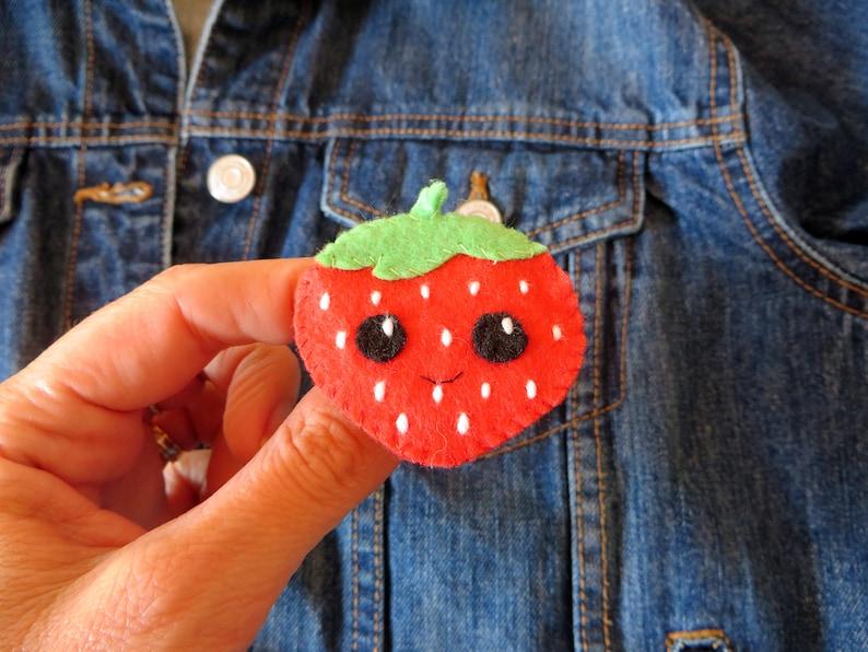 Strawberry brooch kawaii in felt handmade little birthday image 0