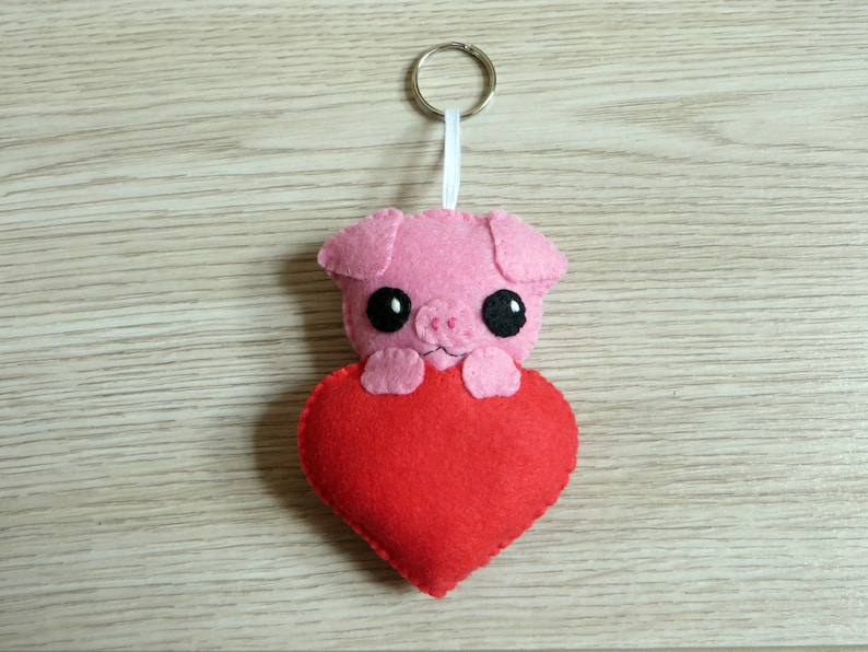 Pig plush love gift cute in a heart in felt handmade to image 0