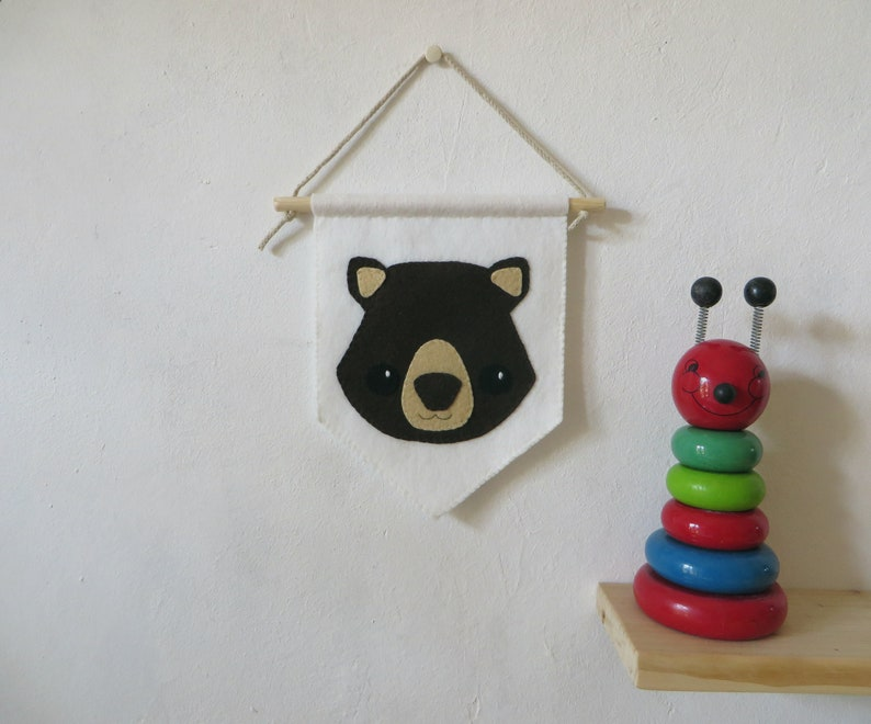 Baby nursery felt pennant animal decor wombat wall hanging image 0