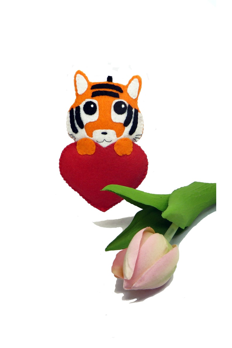Tiger plush Valentines day gift cute in a red heart to image 0
