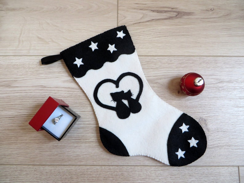 Cats Christmas stocking gift for couple black and white to image 0