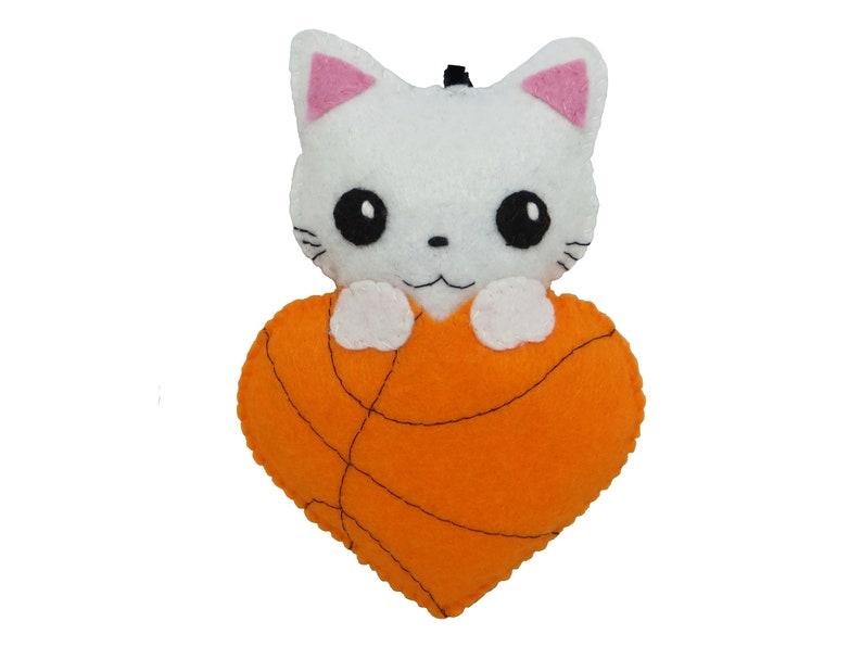 cute cat plush in felt basketball lover gift in an heart ball Basketball gift handmade orange