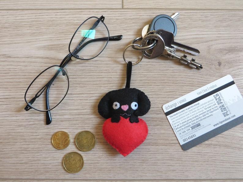 Dog keychain black labrador felt plush handmade small image 0
