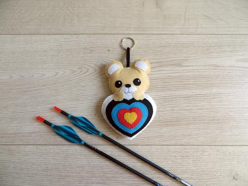 Archery plush bear quiver ornament in felt handmade image 0