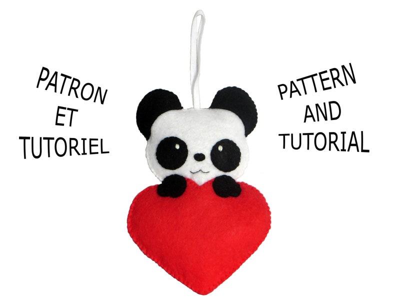 Felt panda pattern in a heart sewing pattern PDF diy image 0