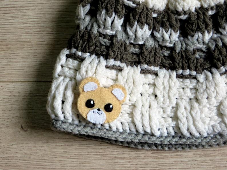 Bear brooch kawaii pin in felt animal lover gift handmade image 0