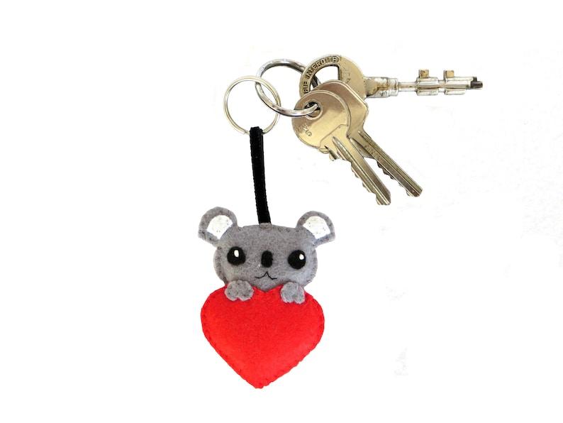Koala keychain cute plush in felt handmade valentines day image 0