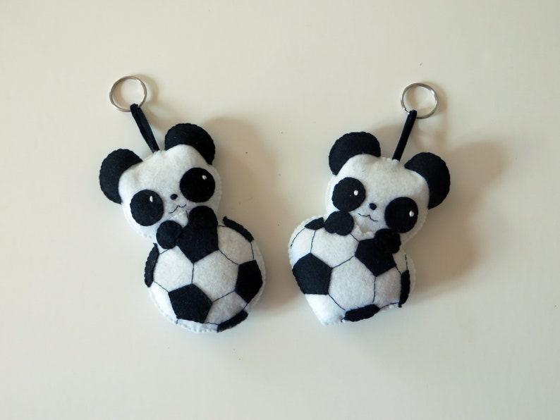 Soccer gift panda plush in a ball in felt handmade image 0