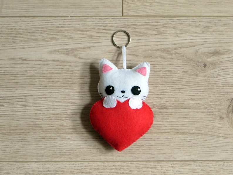 Valentine's day gift felt cat plush cat lovers gift image 0