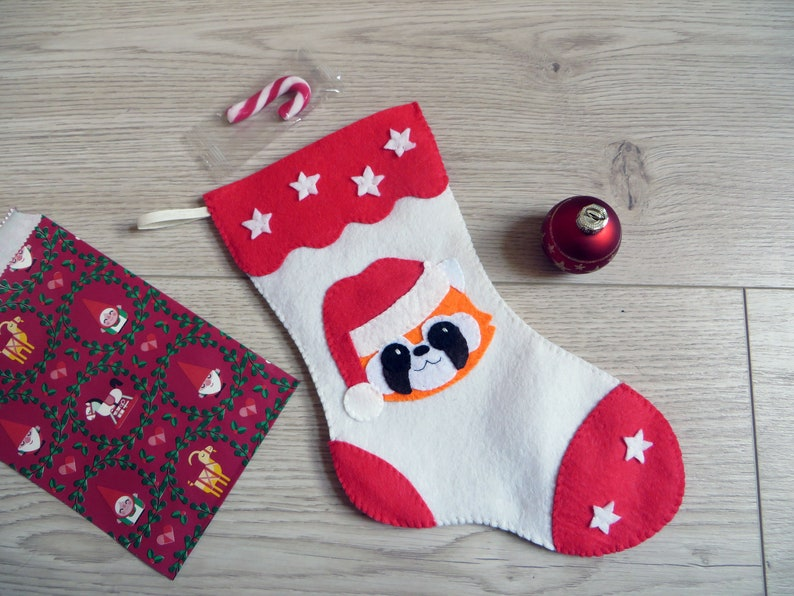 Red panda Christmas stocking Christmas deacoration red and image 0
