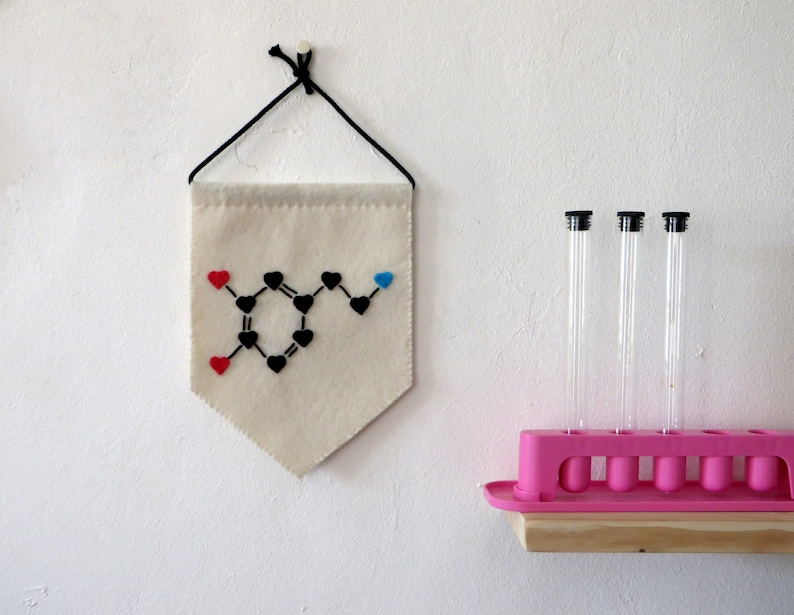 Dopamine molecule pennant science theme wall decor chemical image 0