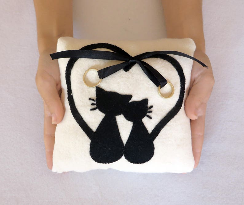 Cats ring bearer pillow black and ivory for romantic image 0