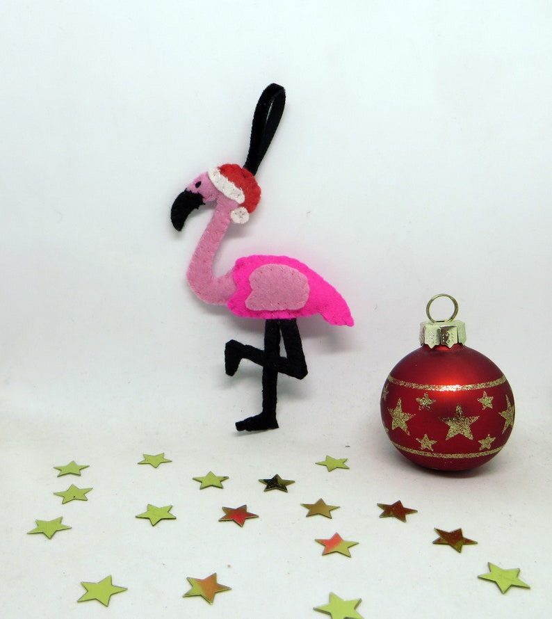 Tropical Christmas decoration pink flamingo to hang in image 0