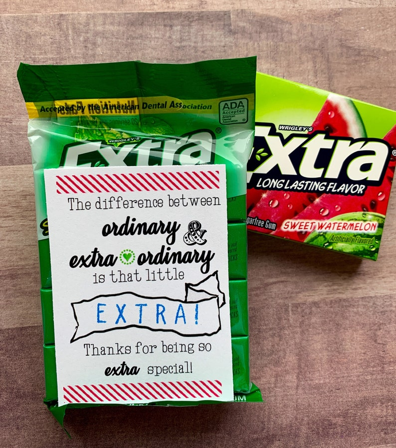 INSTANT DOWNLOAD Extra Gum Appreciation Printables Thank You image 1