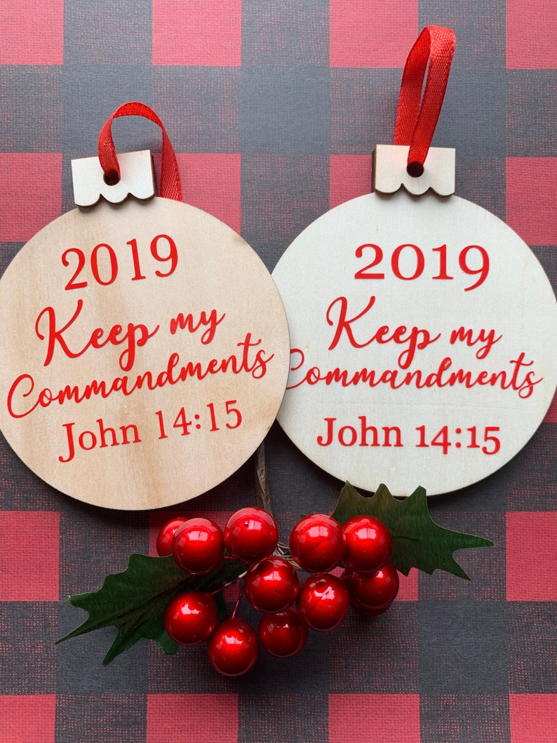 Keep My Commandments Wooden Christmas Ornaments Young Womens image 0