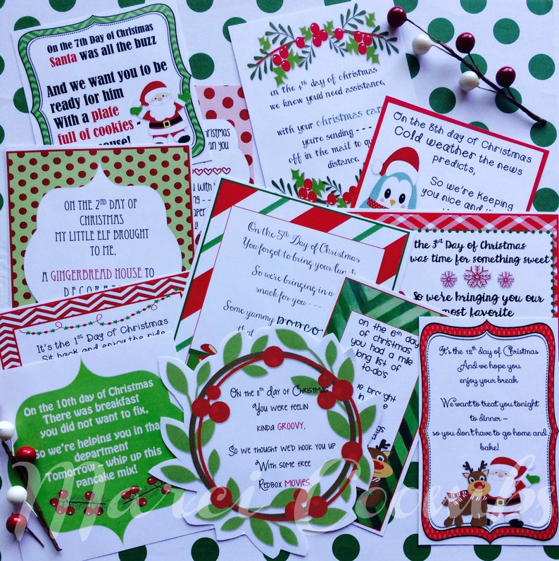 photo relating to 12 Days of Christmas Images Printable referred to as 12 Times of Xmas Printable Tags Solution Santa Labels for Instructors Good friends Loved ones Clroom Presents Faculty by way of Marci Coombs Established 2