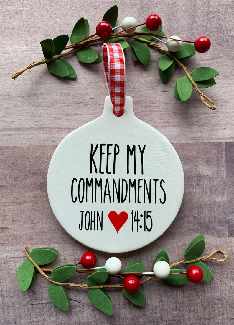 Keep My Commandments Rae Dunn inspired Ornaments Young Womens image 0