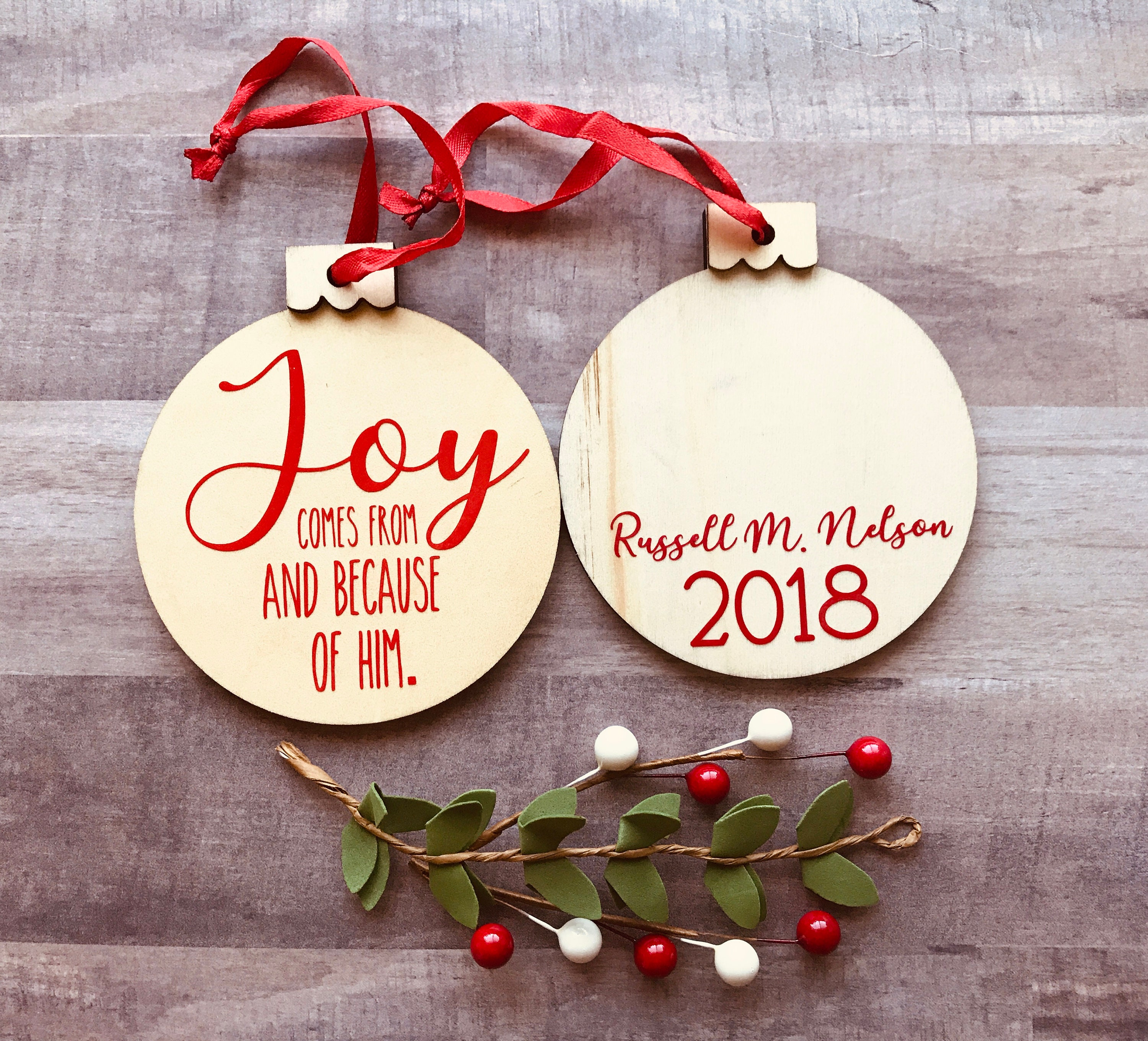 Joy Wooden Christmas Ornaments Russell M Nelson Gifts Favors | Etsy