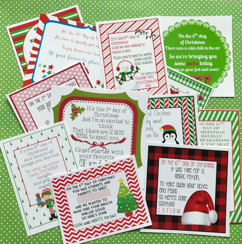graphic about 12 Days of Christmas Printable called Contemporary 12 Times of Xmas Printable Tags Labels for Lecturers Mates Household Clroom Presents Faculty through Marci Coombs Fastened 3