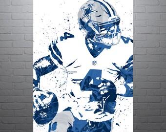 30b81a984f Ezekiel Elliott Dallas Cowboys Sports Art Print Football