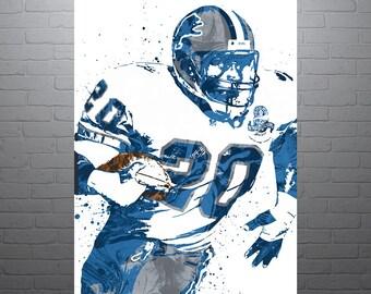 best service 4e23b 15664 20x24 Custom Frame Barry Sanders Detroit Lions   Etsy
