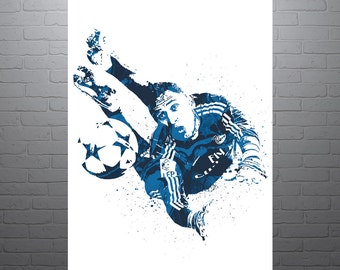 Keylor Navas Real Madrid Soccer Poster, Sports Art Print, Football Poster, Watercolor Contemporary Abstract Drawing Print