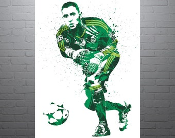 Keylor Navas Real Madrid Soccer Poster, Sports Art Print, Football Poster, Watercolor Contemporary Abstract Drawing Print, Modern Art