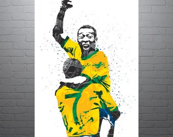 Pelé Brazil Soccer Poster, Sports Art Print, Football Poster, Watercolor Contemporary Abstract Drawing Print, Modern Art, Brazil
